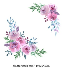 Corner composition of delicate pink roses, watercolor roses purple and pink