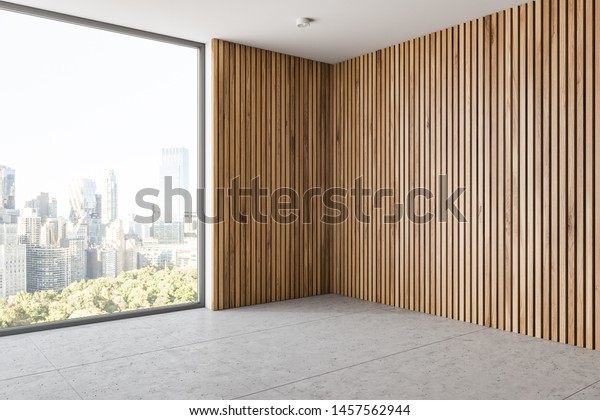 Corner Empty Room Light Wooden Walls Stock Illustration 1457562944