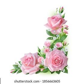 Corner frame made of pink roses. 2D