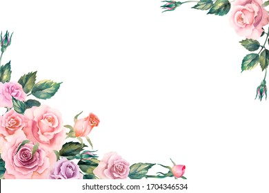 Corner frame of pink roses, leaves and buds on a white background, hand drawn watercolor illustration. Copy space.