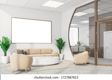 Corner of futuristic office waiting room with white walls, concrete floor, comfortable beige sofa and armchairs near round table and horizontal mock up poster with brown frame. 3d rendering