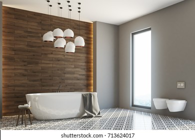 Corner of a gray and wooden bathroom interior with a white round tub and two toilets. 3d rendering mock up