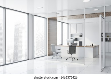 Corner of hall in business center with manager office with white and wooden walls, tiled floor, white and wooden computer table and bookcases. 3d rendering