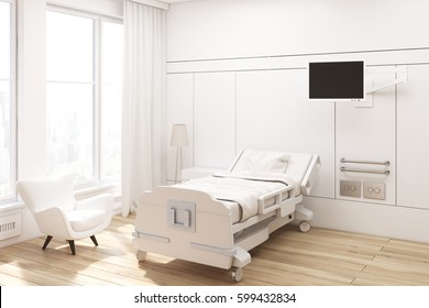 Corner of a hospital ward with a bed, a tv set, a white armchair and curtains on large windows. 3d rendering, Mock up