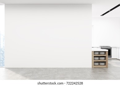 Corner of a kitchen with white walls and a concrete floor. There are white countertops, an oven and a table with shelves. A white blank wall. 3d rendering mock up