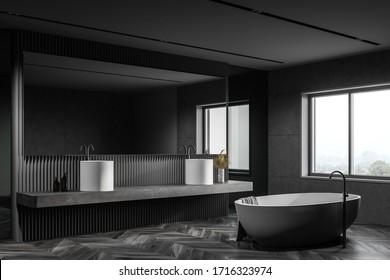 Corner of loft bathroom with gray tile and glass walls, dark wooden floor, massive double sink standing on stone shelf with big horizontal mirror and comfortable bathtub. 3d rendering