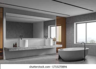 Corner of loft bathroom with white tile and glass walls, concrete floor, massive double sink standing on stone shelf with big horizontal mirror and comfortable bathtub. 3d rendering