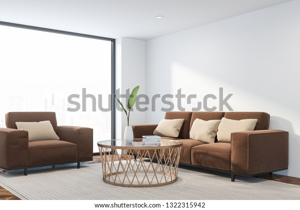 Stupendous Corner Loft Living Room White Walls Stock Illustration Inzonedesignstudio Interior Chair Design Inzonedesignstudiocom