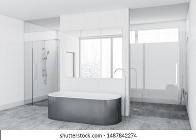 Corner of luxury bathroom with white tile walls, concrete floor, comfortable gray bathtub and shower stall with glass doors. 3d rendering