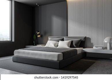 Corner of minimalistic bedroom with gray and wooden walls, concrete floor, gray master bed with white bedside tables and gray carpet. 3d rendering