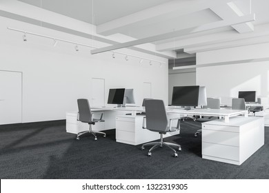 Corner of minimalistic open space office with white walls, carpeted floor and rows of white computer tables with gray chairs. 3d rendering
