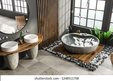 Corner of modern bathroom with gray and wooden walls, tiled floor, stone bathtub and double sink with round mirror. 3d rendering