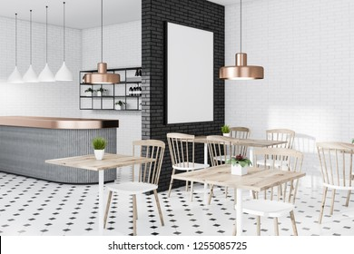 Corner of modern cafe with white and black brick walls, tiled floor and square wooden tables with white and wooden chairs near them. Vertical poster. 3d rendering mock up