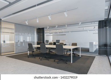 Corner of modern conference room with glass walls, concrete floor, white meeting table with black chairs standing on gray carpet in open space office. Concept of discussion. 3d rendering