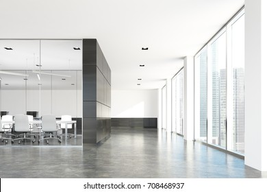 Corner of a modern conference room with glass and dark wooden walls, a concrete floor and loft windows. 3d rendering mock up