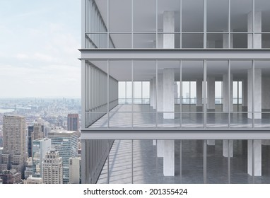 A corner of modern corporate skyscraper with panoramic office windows. 3d model.