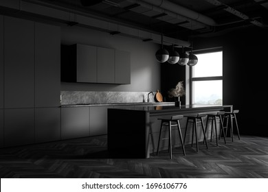 Corner of modern industrial style kitchen with dark grey walls, wooden floor, grey countertops with built in sink and comfortable bar with stools. 3d rendering