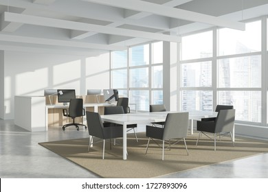 Corner of modern Industrial style open space office with white walls, concrete floor, rows of computer tables and panoramic windows with blurry cityscape. Long conference table. 3d rendering