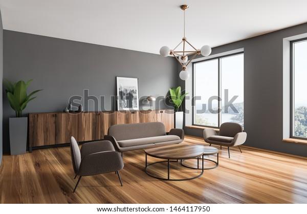 Corner Modern Living Room Gray Walls Stock Illustration ...