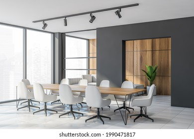 Corner of modern office conference room with grey and wooden walls, tiled floor, long wooden table with white chairs and panoramic window. 3d rendering