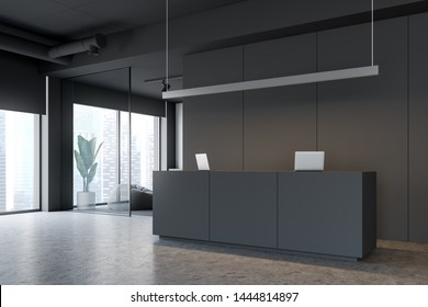 Corner of modern office with gray and white walls, concrete floor, gray reception table with computers and white waiting room with grey pouffes. 3d rendering