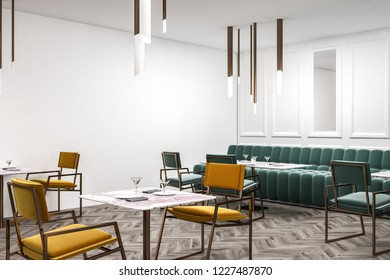 Corner of modern restaurant with white walls, wooden floor and long green sofa with green chairs near rectangular tables. Yellow chairs and square tables. 3d rendering