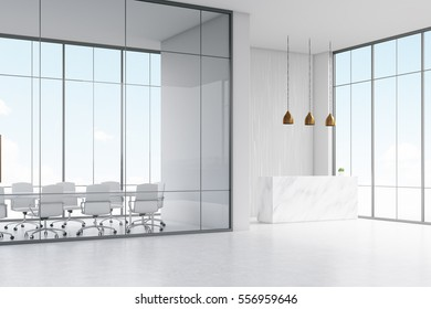 Corner of office. White reception table with a paper cup of coffee standing in a hall. Conference room. Glass wall. 3d rendering. Mock up.