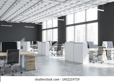 Corner of open space office with gray walls, concrete floor, white ceiling, large windows with cityscape and rows of white and wooden computer tables with chairs. 3d rendering