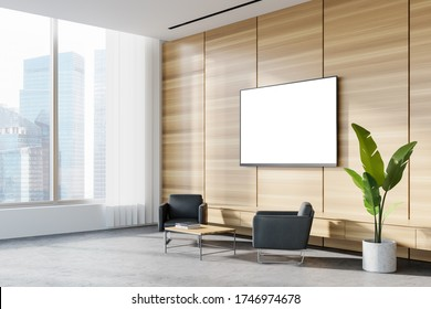 Corner of panoramic corporate office waiting room with white and wooden walls, concrete floor, two comfortable gray armchairs and TV with mock up screen. Blurry cityscape. 3d rendering