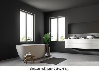 Corner of Scandinavian bathroom interior with gray walls, a concrete floor, large windows and a white bathtub standing next to a double sink. 3d rendering mock up