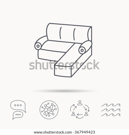 Corner Sofa Icon Comfortable Couch Sign Stock Illustration Royalty
