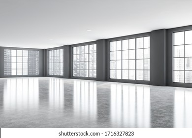 Corner of spacious luxury office room with grey walls, concrete floor and big windows with blurry cityscape. Concept of real estate and development. 3d rendering