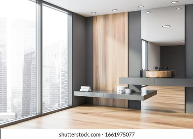 Corner of spacious panoramic bathroom with grey and wooden walls, round sink standing on gray shelf with big mirror and window with blurry cityscape. 3d rendering