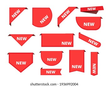 Corner sticker. Promotional curly banners sale merchandise label arrival ribbons collection