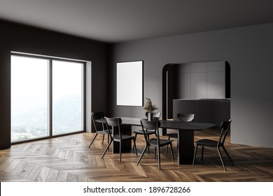 Corner of stylish kitchen with gray walls, wooden floor, long dining table and window with blurry mountain view. Vertical mock up poster. 3d rendering