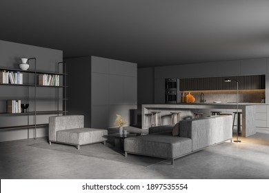 Corner of stylish living room with gray walls, concrete floor, grey sofas and kitchen in the background. 3d rendering