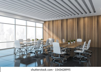 Corner of stylish office meeting room with white and wooden walls, gray tiled floor, panoramic window and two long conference tables with white chairs. 3d rendering