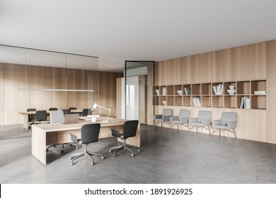 Corner of stylish open space office with wooden walls, concrete floor, computer tables and row of chairs. 3d rendering