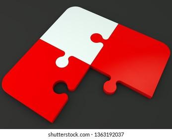 Corner of unfinished puzzle on black.3d illustration