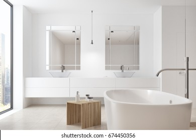 Corner of a white bathroom interior with a marble shelf with two sinks on it and mirrors. Tub. 3d rendering