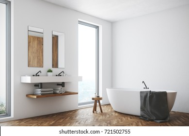 Corner of a white bathroom interior with a wooden floor, a window, a double sink and a white tub. 3d rendering mock up