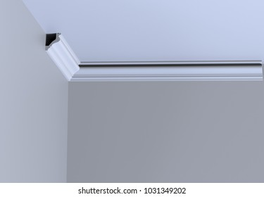 Cornice profile isolated on white. 3D rendering