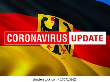 Corona Virus 2020 in Deutschland. virus disease, virus infections concept in Deutschland country. Deadly type of corona virus 2019-nCoV. 3D rendering of coronavirus bacteria. Deutschland flag