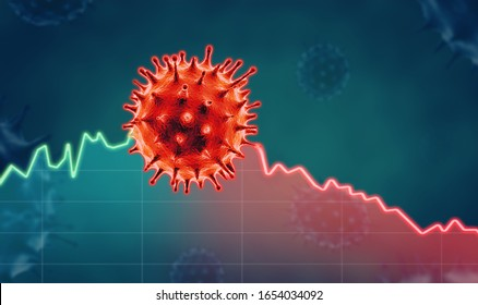 Corona virus economic impact concept image. 3d illustration.