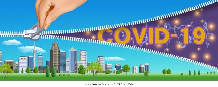 Corona virus elimination! Shut out COVID-19! 3D artwork