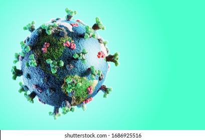 Corona virus SARS-CoV-2 novel coronavirus  concept resposible for covid-19 outbreak and coronaviruses dangerous flu strain pandemia. Microscope virus close up, earth globe model. 3d rendering.