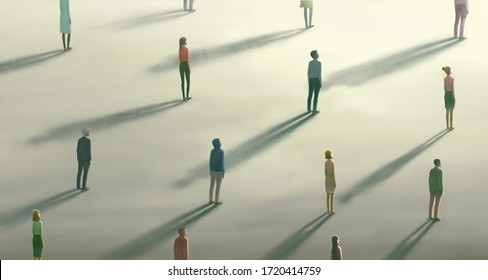 Corona virus and social distancing concept, Hope of Lonely crowd. Group of people looking at the light, surreal artwork, alone person, painting illustration, loneliness emotion