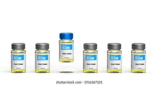Coronavirus 2021 health concept: Six 3d rendered injection vials. Only one stands out with Covid-19 vaccine in competition on white background. Science and Pharma industry against pandemic.