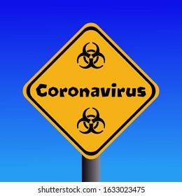 Coronavirus biohazard sign against blue sky illustration