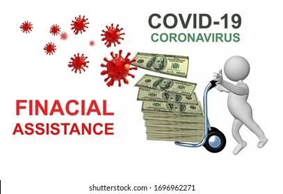 coronavirus covid-19 covid 19 2019 ncov aide financière aide à l'argent dollars personnage humain - rendu 3d